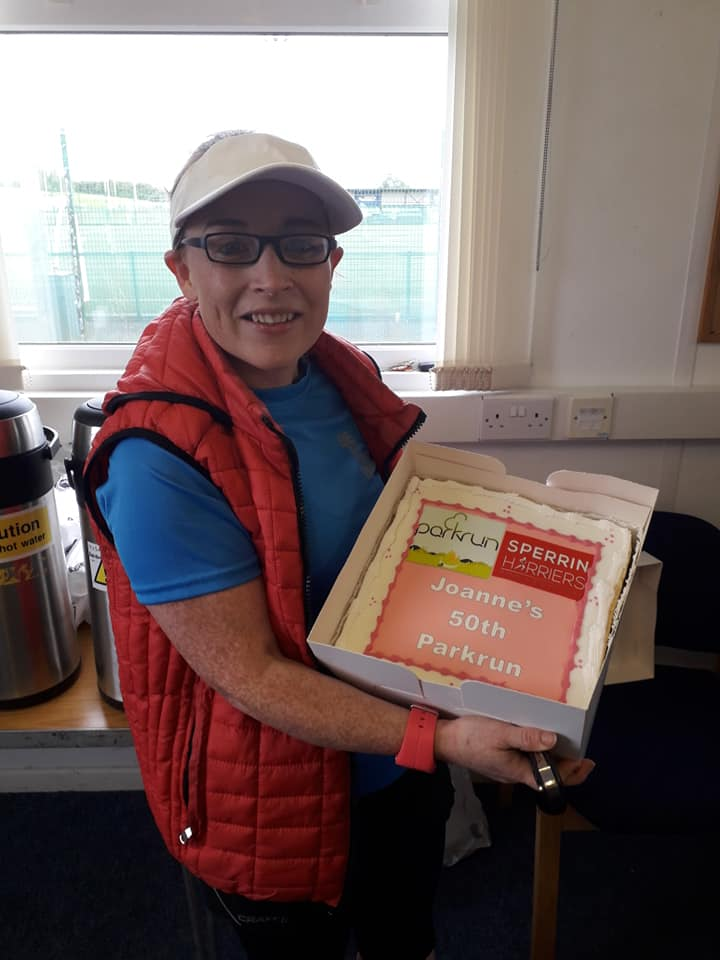 Joanne Corey celebrating her 50th Parkrun