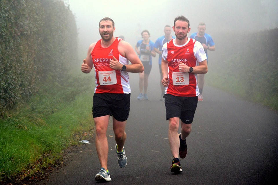 Stephen Lynch and Shane Curtis at the Kells and Connor Half Marathon