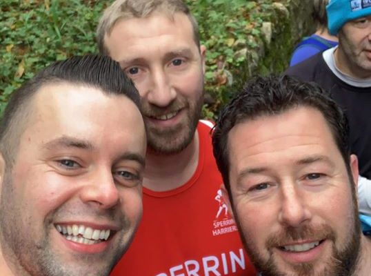 (left to right) Brian O'Donnell, Stephen Lynch and Richard Fox Run Forest Run Drum Manor
