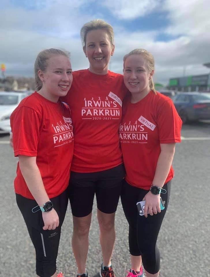 Hannah, Paula and Ellen Glasgow who took part in the 1 year anniversary of virtual ParkrunFile