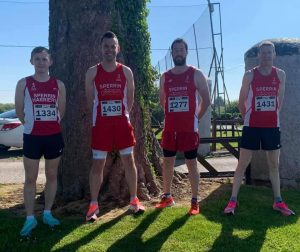 Andrew Newell, Brian O'Donnell, Richard Fox and Paul McLaughlin at Down Royal 10k