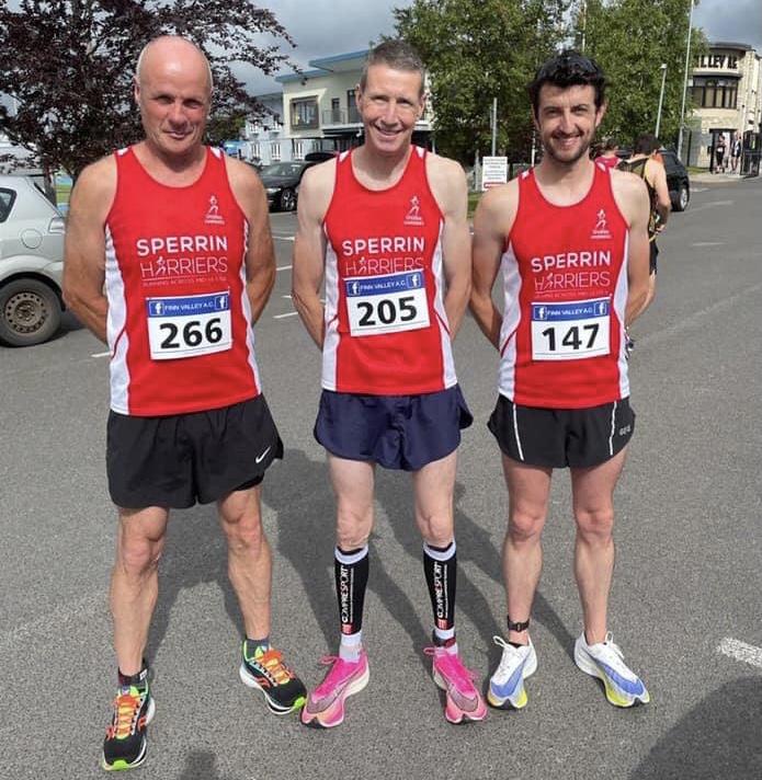 Raymond Thom, Paul McLaughlin and Connor Martin at the Finn Valley AC Golden Jubilee 10 mile run
