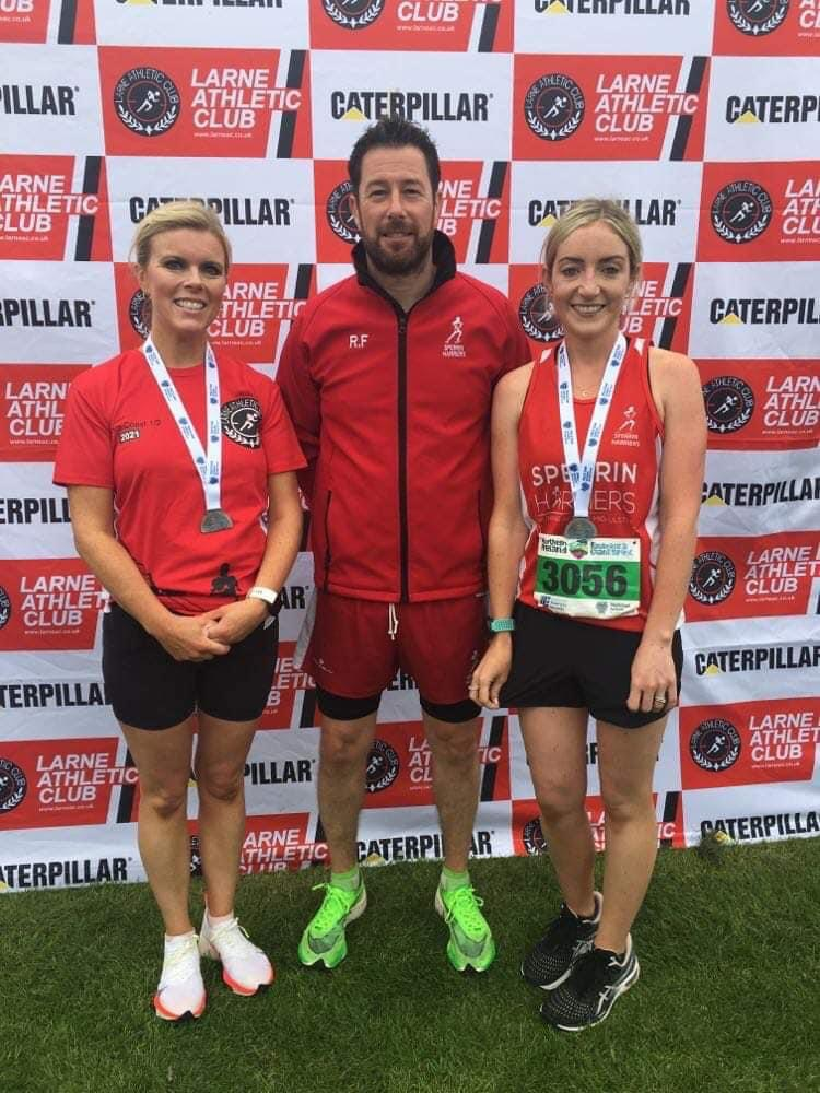 Dearbhla Glackin, Richard Fox and Anne Murphy at Antrim Coast Half Marathon