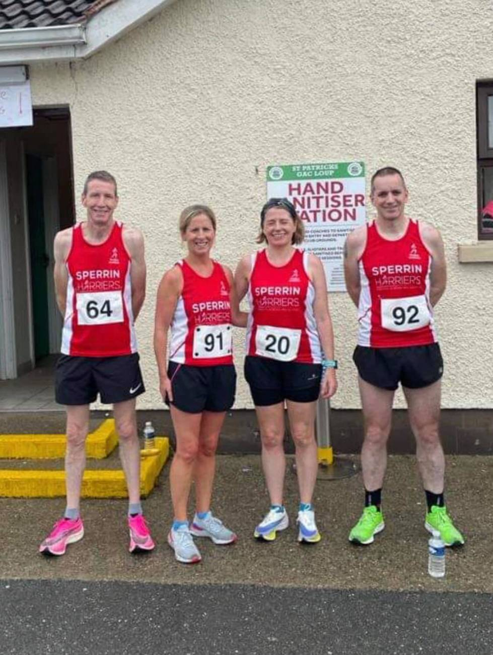 (from left) Paul McLaughlin (first in his age category), Karen McGuigan, Louise Kelly and Declan Morrison (PB) Loup 5 Miler